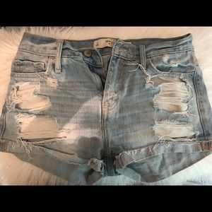 Abercrombie High-Waisted Distressed Denim Shorts